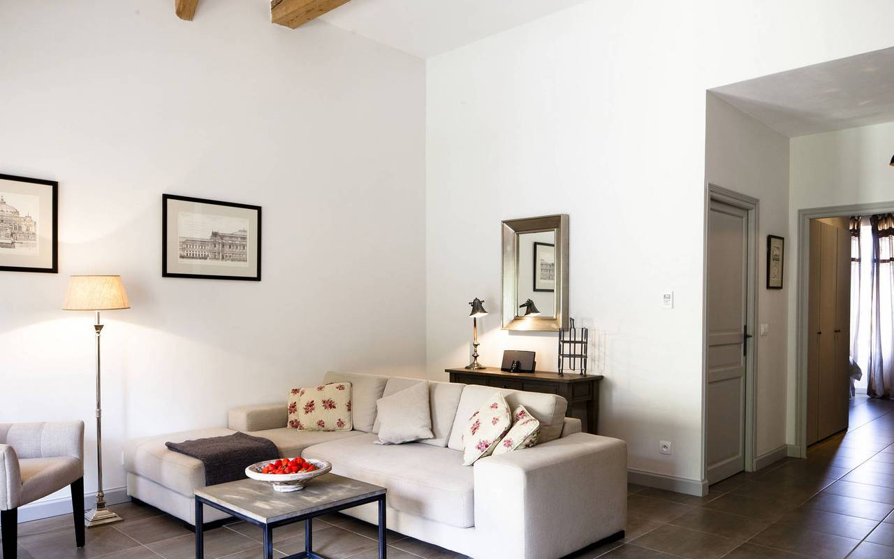 bright living room, vacation rental narbonne, les carrasses