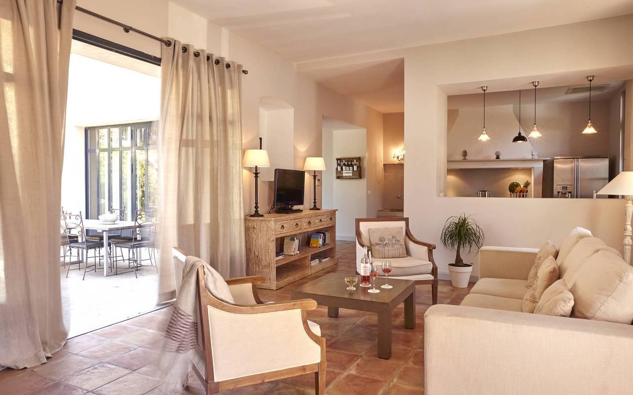 modern living room, rental villa narbonne, château les carrasses