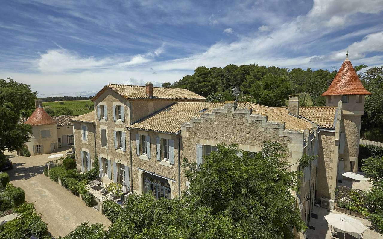 outbuildings of the château les carrasses, herault house rental with swimming pool