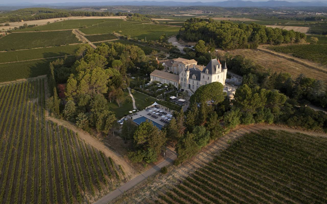 unusual occitanie accommodation, aerial view of les carrasses castle