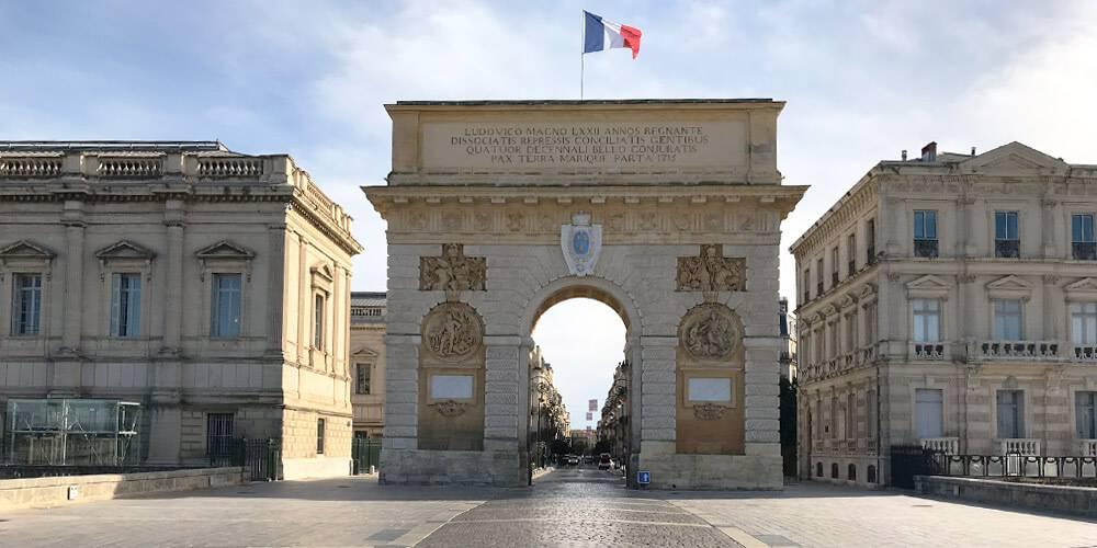 Arc de Triomphe in Montpellier, close to our hotel spa near Pézenas, Chateau St pierre de Serjac.