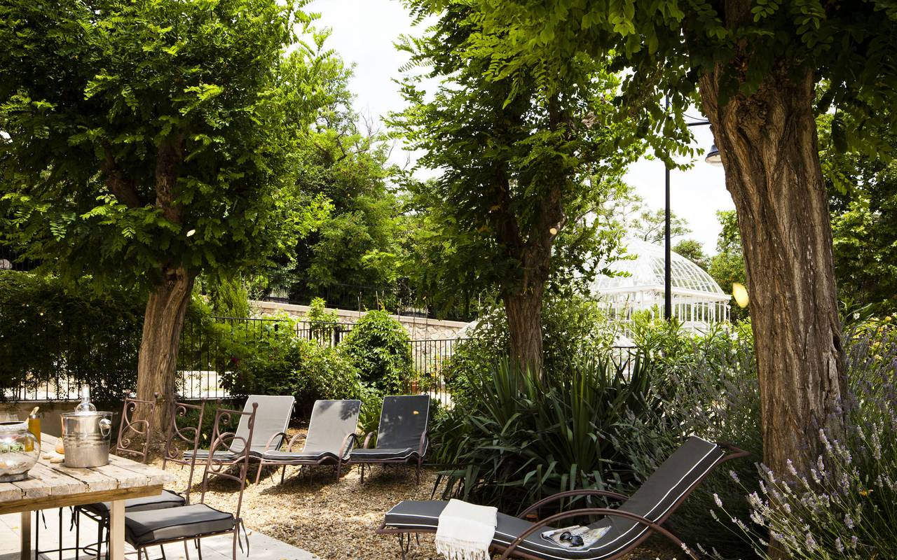 tree-lined terrace, carrasses vacation rental languedoc roussillon