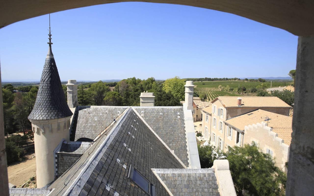 vue sur les toits du château les carrasses, location de maison à capestang