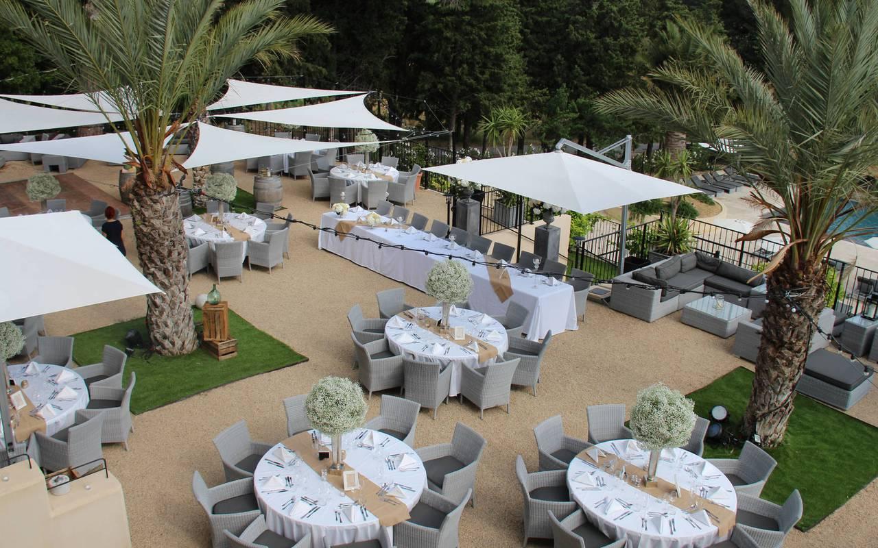 tables de mariage, location salle herault, château les carrasses