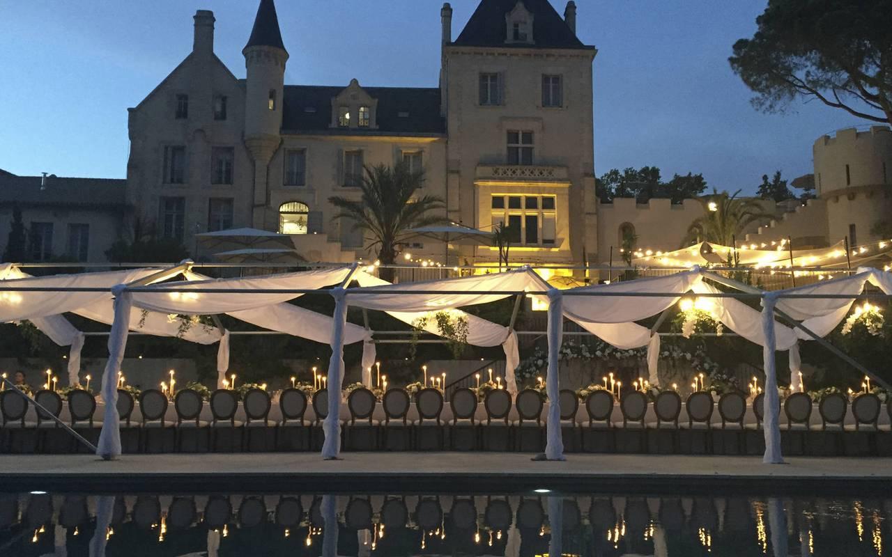 soirée de mariage, location salle herault, château les carrasses