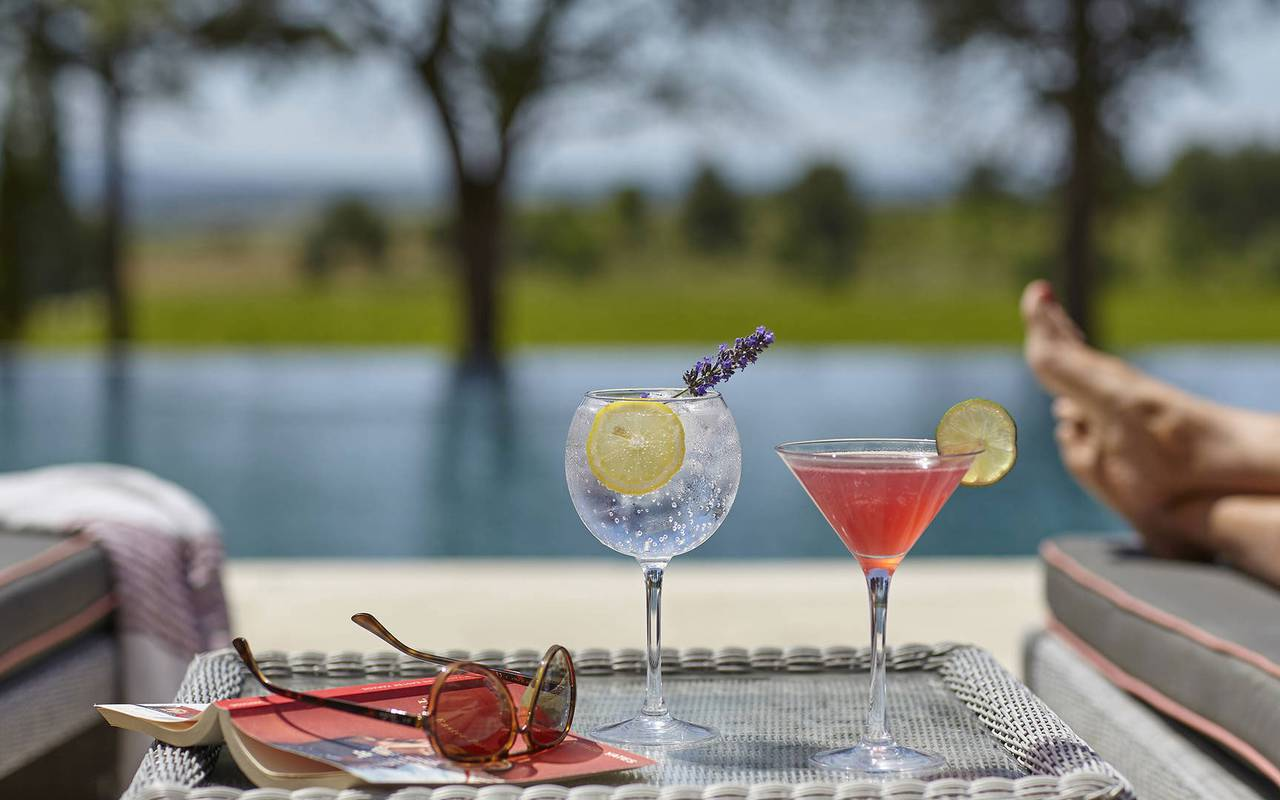 cocktails au bord de la piscine, location appartement narbonne, les carrasses